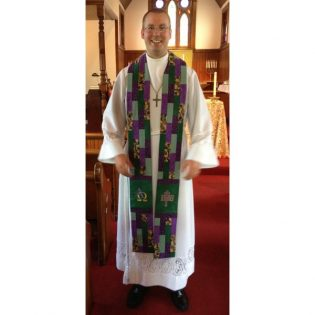 Photograph of clergy wearing Stained Glass Clergy Stole