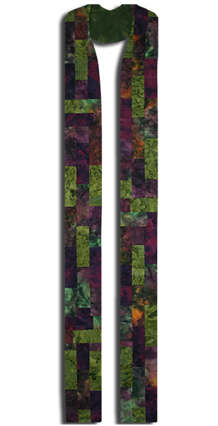 The most used liturgical colors of green and purple are featured in this beautiful stole.