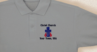 Photograph of polo shirt with custom embroidery