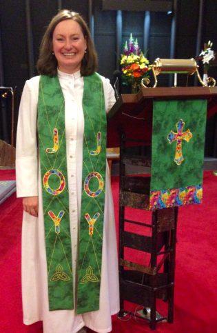 Photograph of clergy wearing JOY Clergy Stole