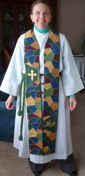 Photograph of clergy wearing Patchwork Clergy Stole