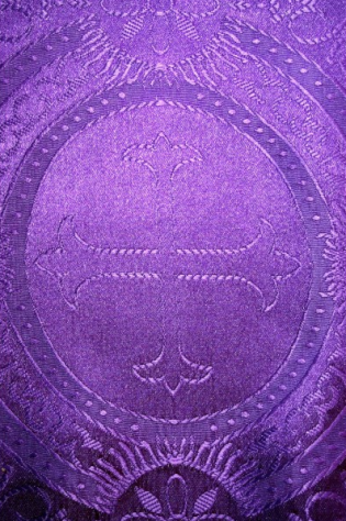 Closeup of Pascal Clergy Stole - Purple