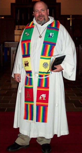 Photograph of clergy wearing Noah Clergy Stole