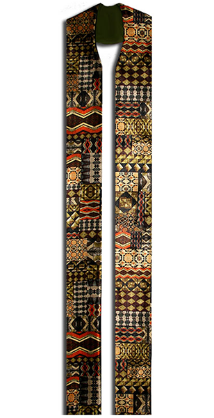The Ulundi Stole is made of a beautiful silky fabric with an ethnic flare of colors.
