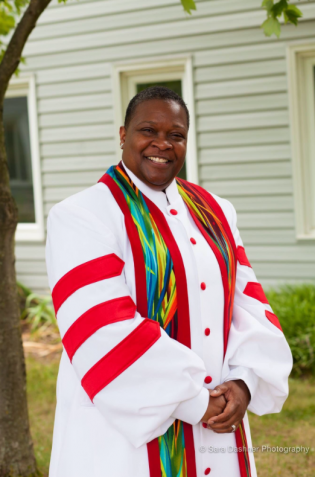 Photograph of clergy wearing Red Jazzy Spirit Clergy Stole