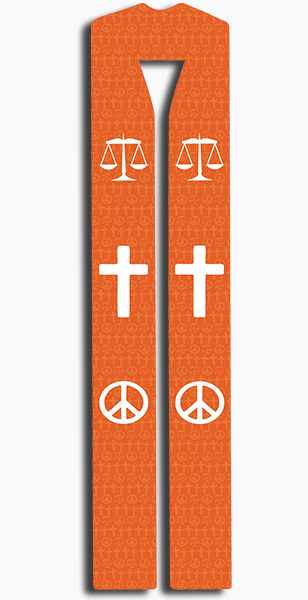 Photograph of Peace and Justice Clergy Stole - Orange