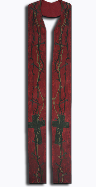 Photograph of Thorn and Nail Clergy Stole - Red