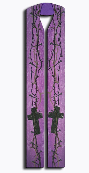 Photograph of Thorn and Nail Clergy Stole - Purple