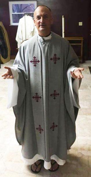 Photograph of clergy wearing Jerusalem Cross Clergy Stole