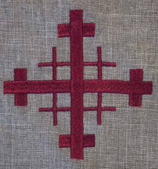Closeup of Grey Jerusalem Cross Clergy Stole