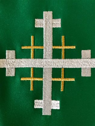 Closeup of Jerusalem Cross Clergy Stole - Green