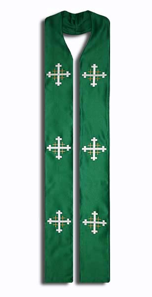 Photograph of Jerusalem Cross Clergy Stole - Green