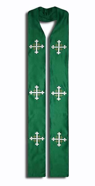Photograph of Jerusalem Cross Clergy Stole - Green