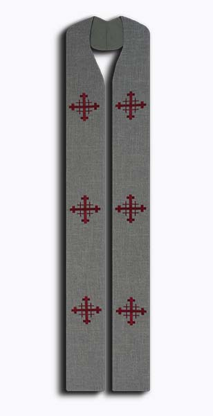 Photograph of Jerusalem Cross Clergy Stole - Gray
