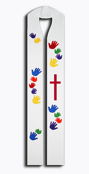 Photograph of Beloved Hands Rainbow Clergy Stole with Cross