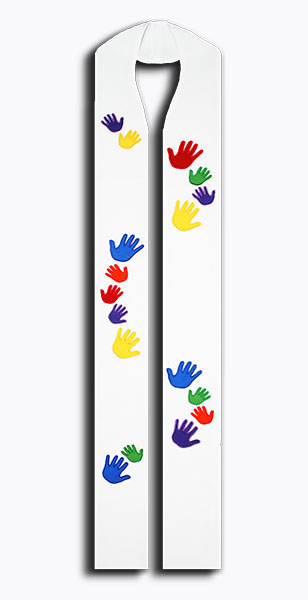 Photograph of Beloved Hands Rainbow Clergy Stole