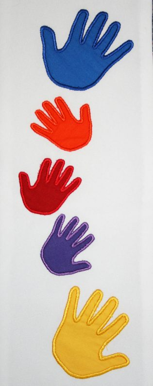 Closeup photograph of applique hands from Beloved Hands Clergy Stole