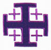 Closeup of embroidered cross from Jerusalem Cross Clergy Stole