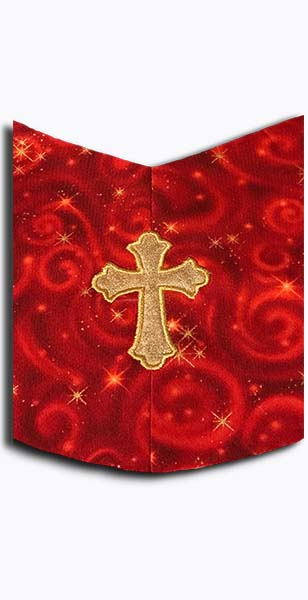 Closeup of Cosmic Celebration Clergy Stole material and cross