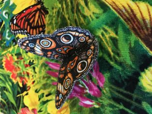 Closeup of embroidered butterfly