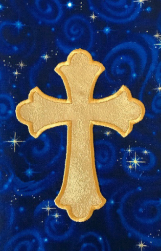 Closeup of the cross and material used in the Epiphany Star Clergy Stole