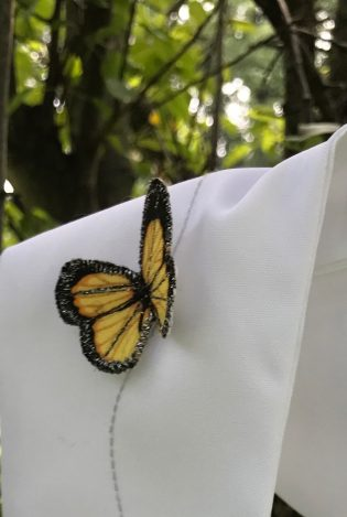 Closeup of embroidered butterfly on Resurrection Clergy Stole